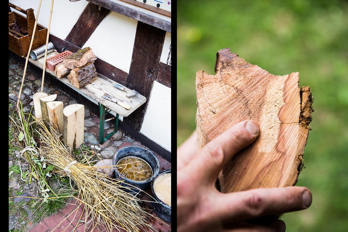 Die Qual der Wahl beim Material: Einige Insekten mögen Stroh, andere Bambus, erklärt Workshop Leiter Michail Schütte, wieder andere lieben Totholz, das Holz abgestorbener Bäume. Daher verbaut Sascha es auch in seinem Insektenhotel.