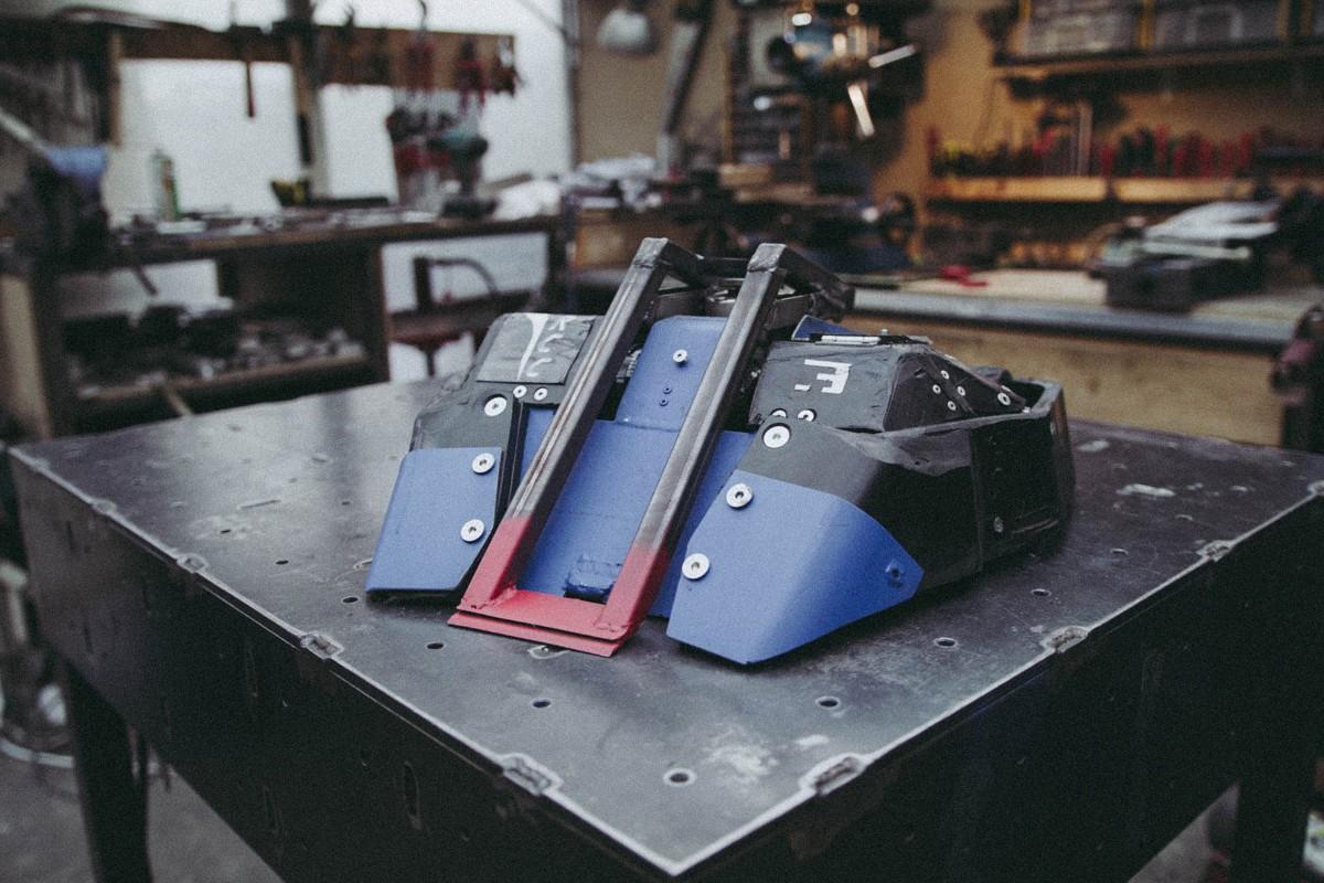 Der Roboter Hannibalito 3 in seiner Werkstatt;