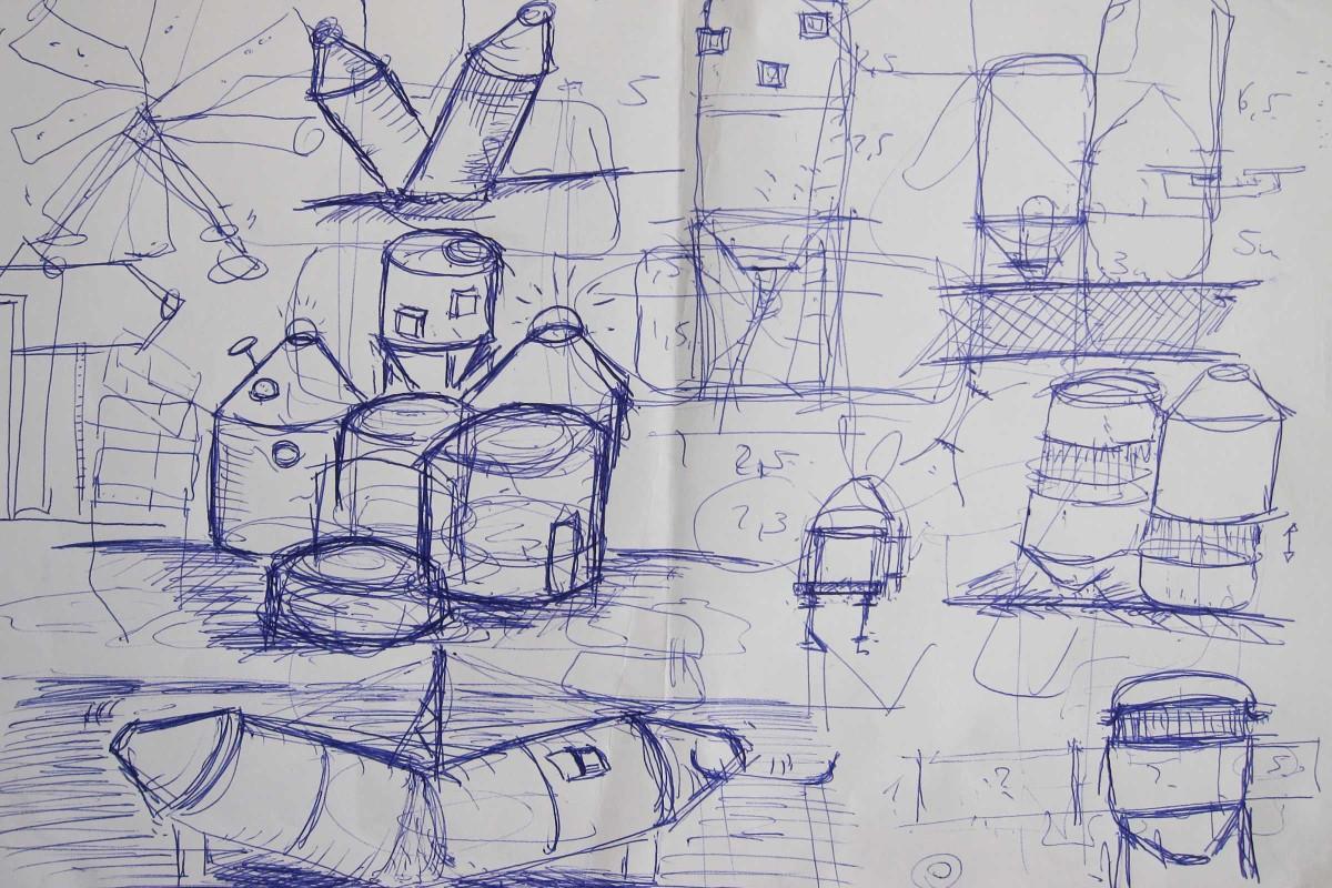Zunächst skizzierte er ein paar Entwürfe mit Kuli auf einem Blatt Papier.