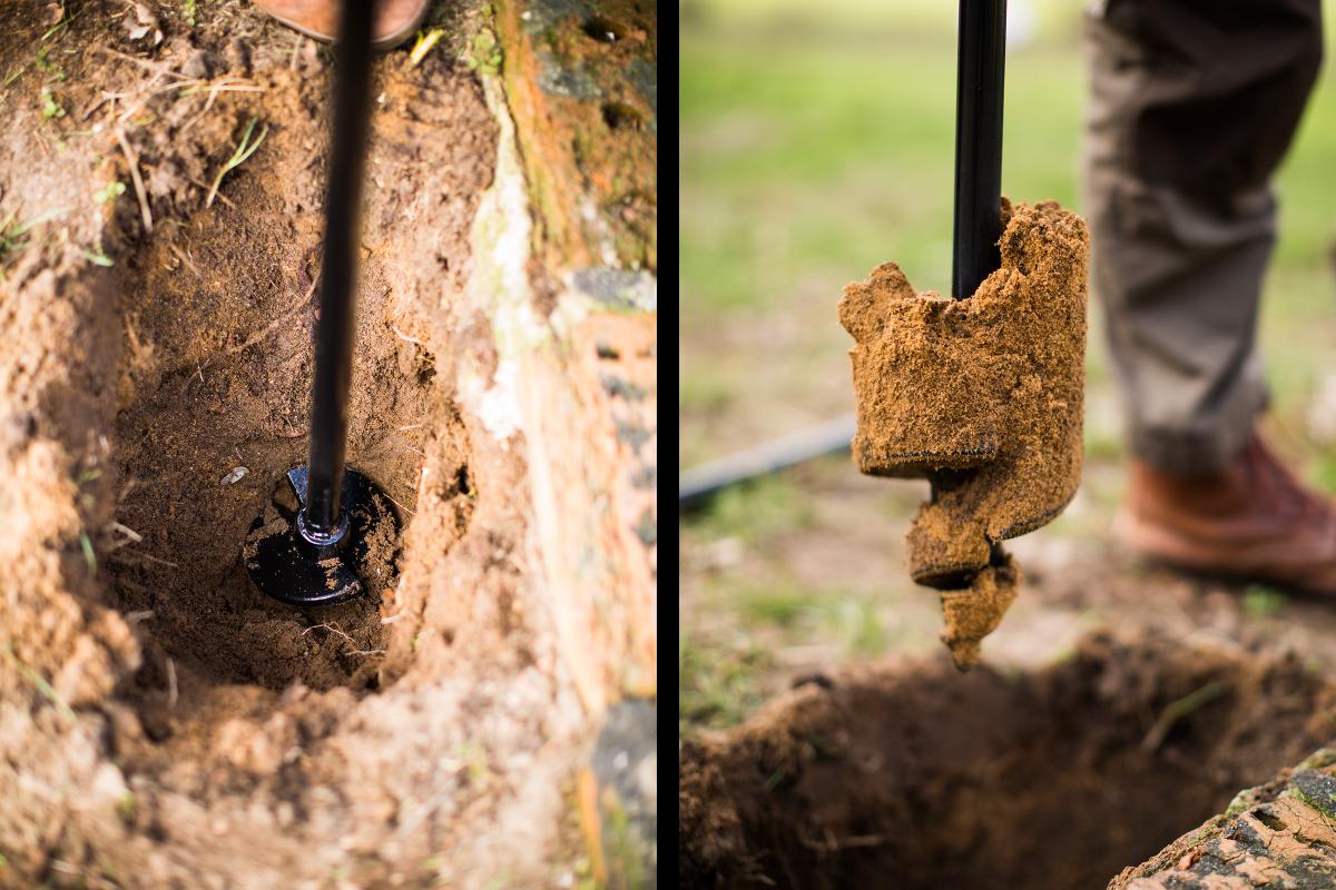 Sascha Borrée, der seinen ersten Gartenbrunnen baut, nutzt einen Handerdbohrer, um ein paar Meter tief in die Erde zu bohren