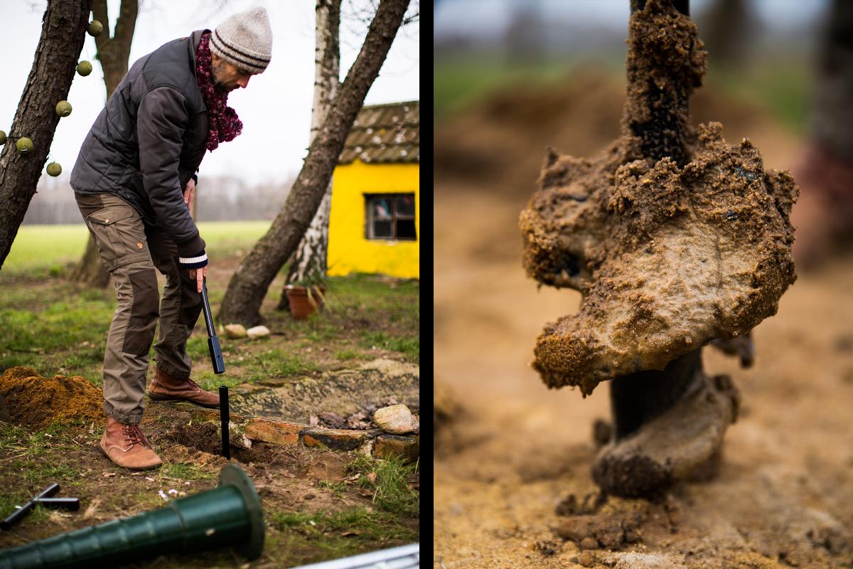 Sascha Borrée baut seinen ersten Gartenbrunnen. Um tiefer bohren zu können, montiert er eine Verlängerungsstange zwischen Bohrer und Griff und erreicht mithilfe seines Handerdbohrers nach rund fünfeinhalb Metern feuchte Erde – und stößt auf Grundwasser, das er für den Bau seines Gartenbrunnens braucht.