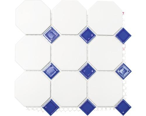 Keramikmosaik Octa weiß blau 30x30 cm