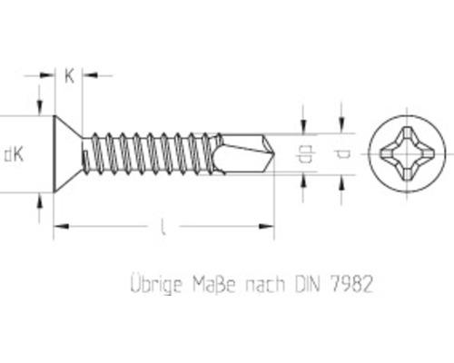 Bohrschraube Senkkopf m. Kreuzschlitz DIN 7504 4,2x38 mm galv. verzinkt, 1000 Stück