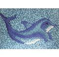 Mosaikbild Delphin groß 160 cm breit 110 cm hoch blau