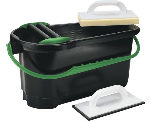 Fliesen-Waschset m. Rollen 24 L inkl. Wascheimer, Fliesenwaschbrett, Fugenbrett
