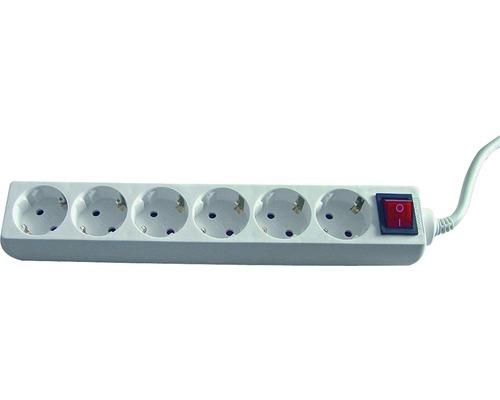 Steckdosenleiste 6-fach, mit Schalter, 3G1,5, weiß, 1,4 m