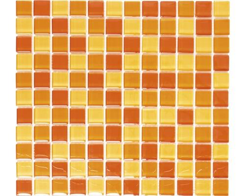 Glasmosaik XCM 8523 30,2x32,7 cm gelb/orange/rot