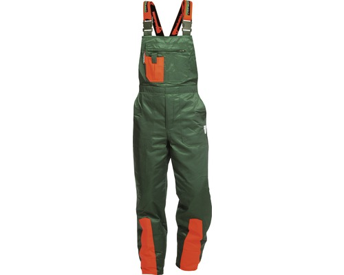 Schnittschutzlatzhose grün/orange Gr. 50