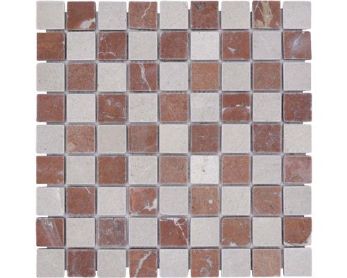 Natursteinmosaik MOS.32/1513R 30,5x30,5 cm beige/cotto