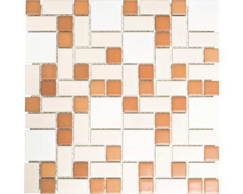 Keramikmosaik BS 119 31,5x32 cm mix weiß/braun/beige