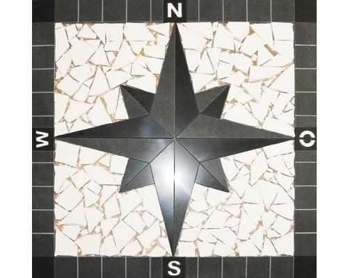 Mosaikfliese Kompass black&white 60x60 cm