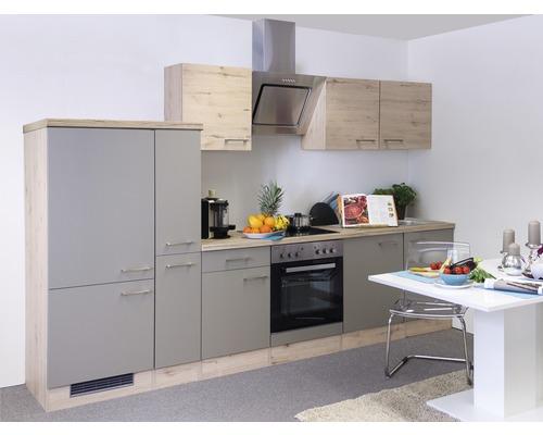 Küchenzeile Riva 300 cm inkl. Einbaugeräte quarzit cubanit-san remo eiche hell