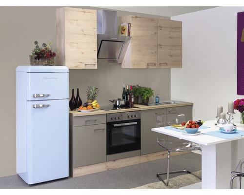 Küchenzeile Riva 210 cm inkl. Einbaugeräte quarzit cubanit-san remo eiche hell