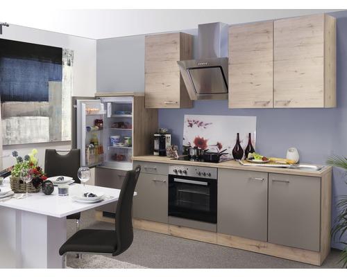 Küchenzeile Riva 270 cm inkl. Einbaugeräte quarzit cubanit-san remo eiche hell