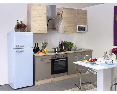 Küchenzeile Riva 220 cm inkl. Einbaugeräte quarzit cubanit-san remo eiche hell