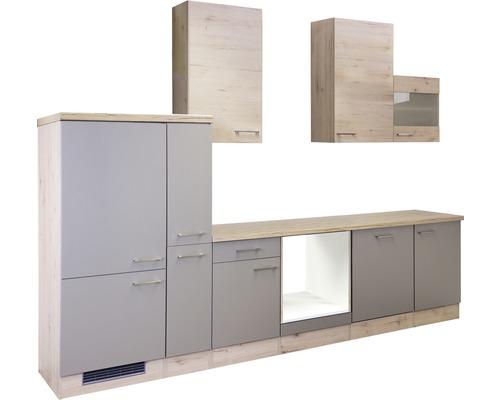 Küchenleerblock Riva 310 cm quarzit cubanit-san remo eiche hell