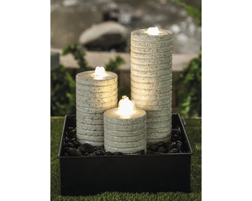 Gartenbrunnen-Set Zinc-Combi 3 Pillars Terrazzo-Zink creme-schwarz