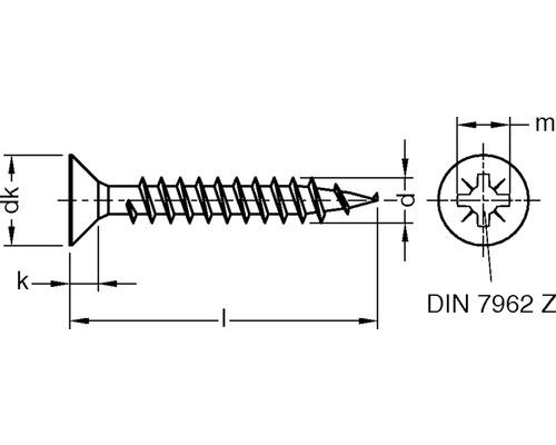 JD79 Spanplattenschraube 3x30 mm galv. verzinkt gelb chromatiert, 1000 Stück