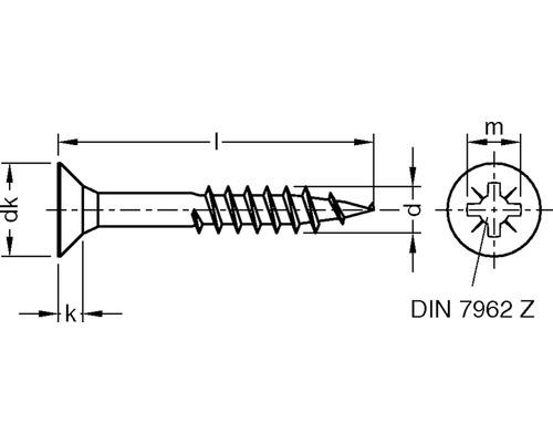 JD79 Spanplattenschraube 4,5x40 mm galv. verzinkt gelb chromatiert, 200 Stück