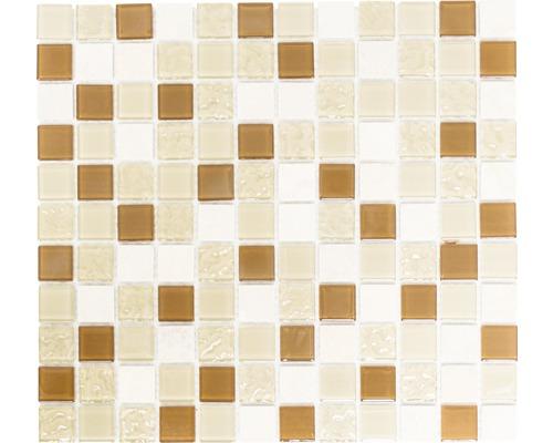 Glasmosaik mit Naturstein CM M432 30,2x32,7 cm mix beige