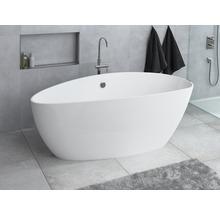 Freistehende Badewanne Ria 156x71 cm rechts hochglanz weiß und Gelcoatbeschichtung