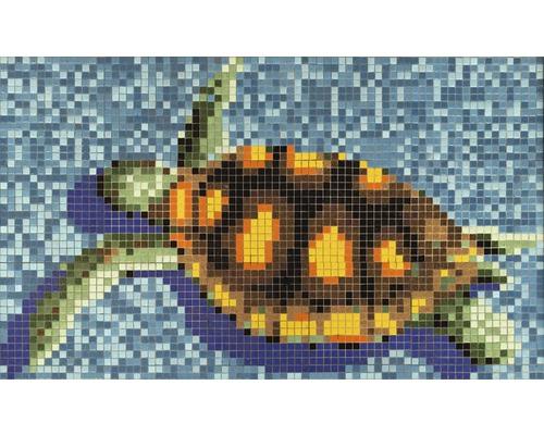 Mosaikbild Schildkröte 95x160 cm GM K35P grün blau