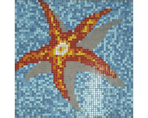 Mosaikbild Seestern 116,4x116,4 cm GM K39P orange/gelb/rot/blau
