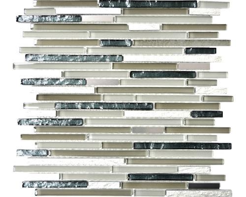 Glasmosaik XAM SV96 schwarz/braun/beige 30,5x30,5 cm