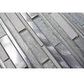 Glasmosaik XAM GV64 mix weiß/silber 29,8x31 cm