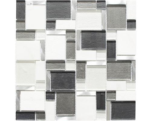 Glasmosaik XCM FK02 mix schwarz/silber/weiß 30x30 cm