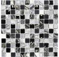 Glasmosaik XCM HQ24 mix schwarz/silber/weiß 30x30 cm