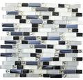 Glasmosaik XCM IL007 weiß/grau/schwarz 30x29,5 cm