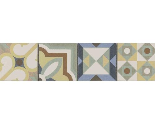 Keramikbordüre Patchwork mix 7,7x31,8 cm