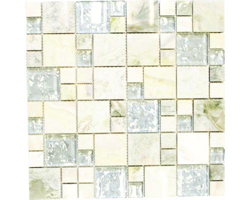 Glasmosaik XCM MC639 grau/beige 30x30 cm