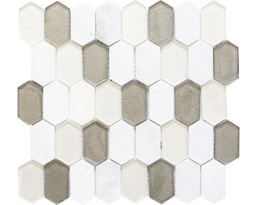 Glasmosaik XCM IN69 mix beige 30,5x29,5 cm