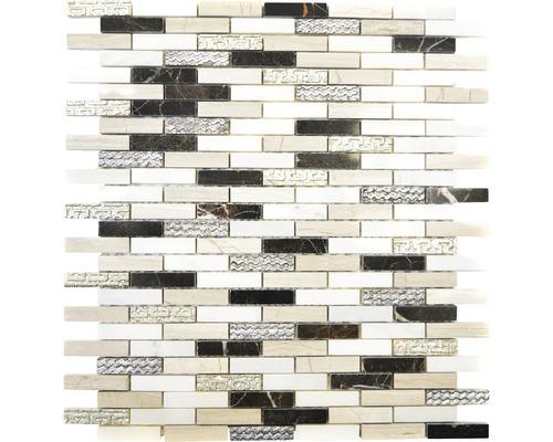 Natursteinmosaik XNC ST02 Marmor schwarz/weiß/beige 25,8x29 cm
