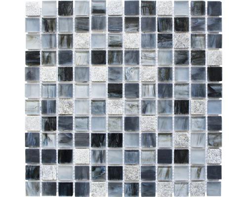 Glasmosaik XCR 2507 mix grau/schwarz 30,2x30,2 cm
