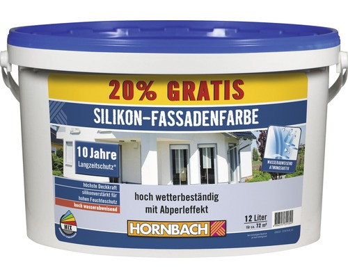 Silikonfarbe Silikon-Fassadenfarbe weiß 12 l (20 % Gratis!)