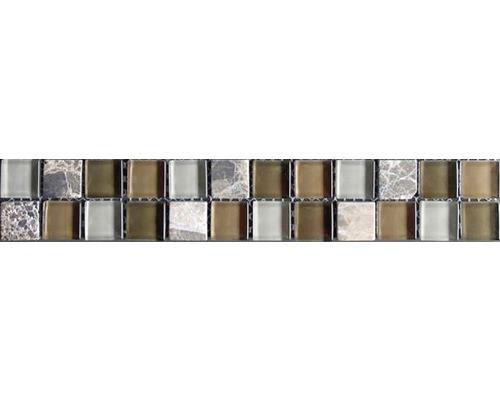 Glasbordüre mit Naturstein emperador mix 4,8x30,0 cm