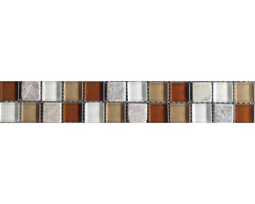 Glasbordüre mit Naturstein red brown mix 4,8x30,0 cm