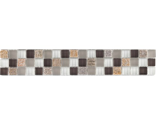 Glasbordüre mit Naturstein 4,8x29,8 cm taupe mix