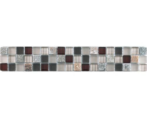 Glasbordüre mit Naturstein 4,8x29,8 cm brown red mix