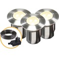 LED Einbauleuchten Set 3tlg IP67 3x0,5W 3000 K warmweiß edelstahl 42x45 mm 12V