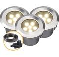 LED Einbauleuchten Set IP67 3x1W 10 lm 3000 K warmweiß edelstahl 4058603 70x42 mm 12V