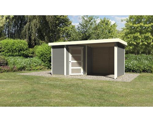 Gartenhaus Karibu Anvik 3 mit Schleppdach, Rück- und Seitenwand 433 x 217 cm terragrau