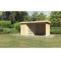 Gartenhaus Karibu Anvik 3 mit Schleppdach, Rück- und Seitenwand 433 x 217 cm natur