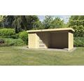 Gartenhaus Karibu Anvik 3 mit Schleppdach, Rück- und Seitenwand 468 x 217 cm natur
