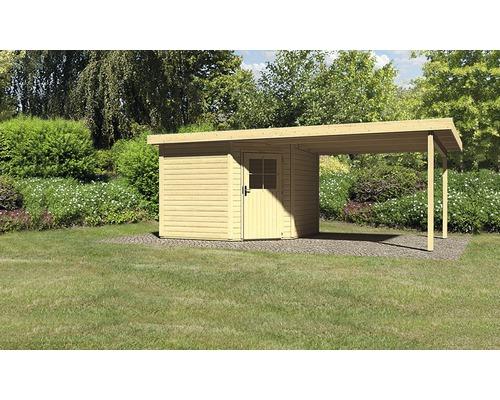 Gartenhaus Karibu Neuruppin 3 mit Schleppdach 3 m 566 x 274 cm natur