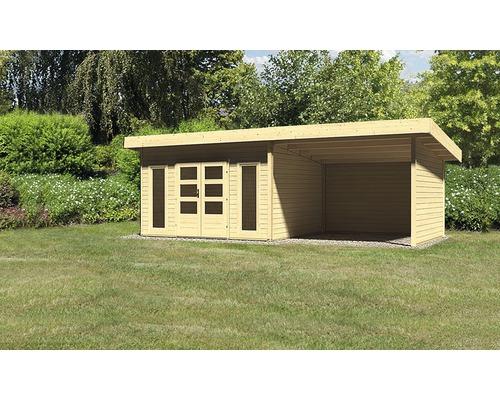 Gartenhaus Karibu Speyer 4 mit Schleppdach 3 m, Rück- und Seitenwand 665 x 309 cm natur