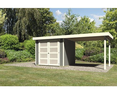 Gartenhaus Karibu Buchbach 3 mit Schleppdach 2,6 m 497 x 217 cm terragrau